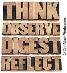考えなさい, ダイジェスト, 観察しなさい, 反映しなさい