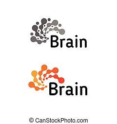 考えなさい, 考え, logotype, 灰色, concept., template., ロゴ, 力, 脳, アイコン, ベクトル, ひらめき, デザイン, 考え, logotype., シルエット