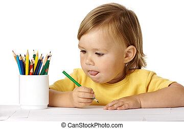 考える, について, 子供, 考え, 図画