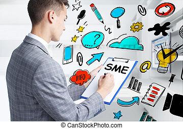 考える, 技術, インターネット, ネットワーク, sme, ステップ, 若い, ビジネスマン, 成功した, ...