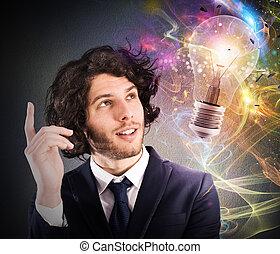 考える, 新しい, ビジネスマン, 考え, 創造的