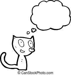 考え泡, 漫画, ねこ