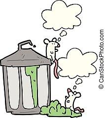 考え泡, 缶, ごみ, 漫画