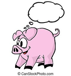 考え泡, 豚