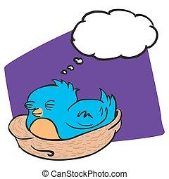 考え泡, 鳥