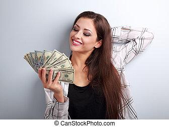 考え, お金, リラックスした, 若い, 偶然, いかに, 女性, モデル, 衣類, 費やしなさい