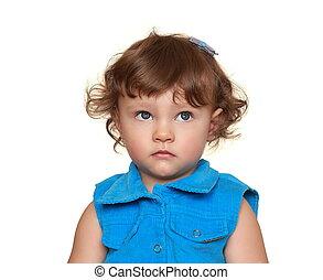 考え, の上, 隔離された, 見る, 背景, 赤ん坊, 肖像画, 女の子, 白