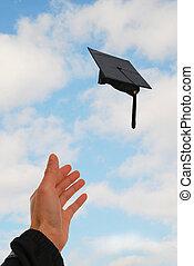 考え, の, 手を伸ばす, 卒業日