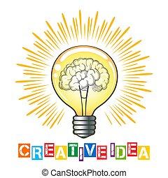 考え, イラスト, 創造的, 概念