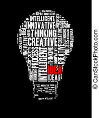 考え, インフォメーション, テキスト, コラージュ, 作曲された, 中に, ∥, 形, の, 電球