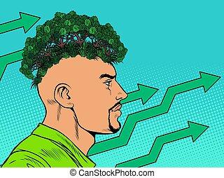 考え, エコロジー, concept., ecologist., マレ, 公園, 森林
