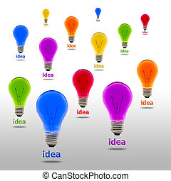 考え, カラフルである, 電球, ライト