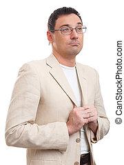 考え, ガラス, スーツ, 白, ハンサム, 人