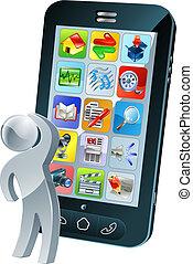 考え, スクリーン, apps, の上, 見る, 電話