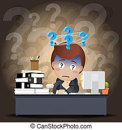 考え, ビジネスマン, コンピュータ, 仕事, 机