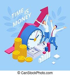 考え, ビジネス, 財政, concept., coin., 計画, 時間, 目覚し 時計, deadline., お金 管理, 山, 等大