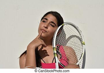 考え, プレーヤー, 女の子, テニス, ティーネージャー