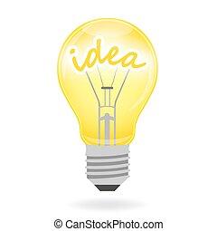 考え, -, ベクトル, 電球, ライト