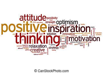 考え, ポジティブ, 単語, 雲
