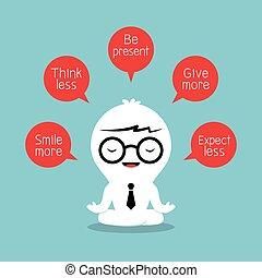 考え, ポジティブ, 概念, 瞑想する, ビジネスマン