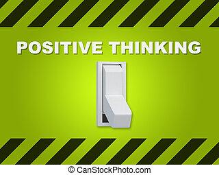 考え, ポジティブ, 概念