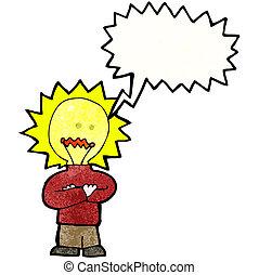 考え, ライト, 漫画, 電球, 人