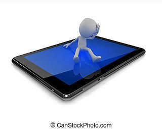 考え, 人, タブレット, デジタル