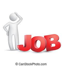 """考え, 人, 単語, """"job"""", 3d"""