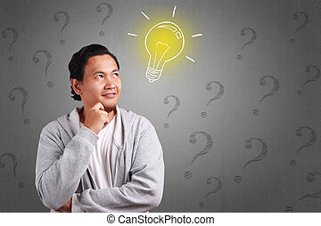 考え, 人, 若い, 質問