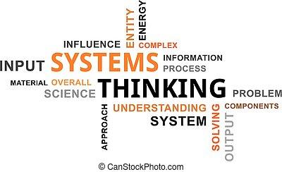 考え, 単語, -, システム, 雲