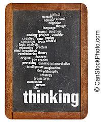考え, 単語, 雲, 上に, 黒板