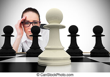 考え, 合成の イメージ, 女性実業家