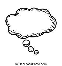考え, 型, ベクトル, 彫版, bubble.