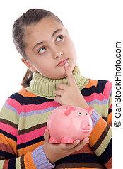 考え, 女の子, 愛らしい, 貯金箱