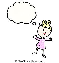 考え, 女の子, 泡, 幸せ