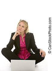 考え, 女性実業家, ラップトップ, 前部, モデル