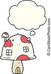 考え, 家, 泡, 漫画, きのこ