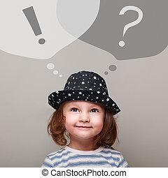 考え, 幸せ, 子供, 女の子, 調べること, 上に, 質問, そして, 叫び, サイン