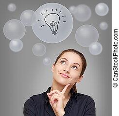 考え, 微笑の 女性, 調べること, 上に, 多数, 泡, ∥で∥, 考え, 電球, 印, 上に, 灰色, 背景