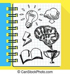 考え, 手, ノート, 引かれる, 新しい, scetch
