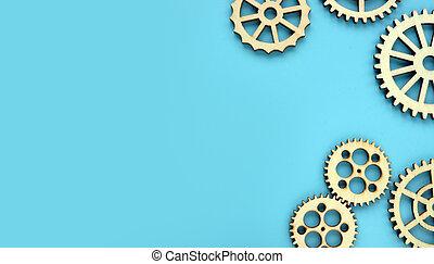 考え, 新しい, 木製である, space., concept., 青, gears., 背景, 仕事, 心, 無料で