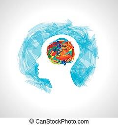 考え, 新しい, 頭, 考え, 人間