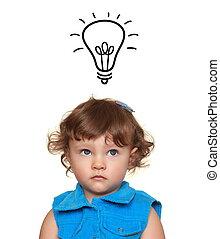 考え, 美しい, 女の子, 調べること, 上に, 考え, 電球, 隔離された, 白, バックグラウンド。, 概念, クローズアップ, 肖像画