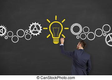 考え, 解決, 黒板, 背景, 概念, 新しい