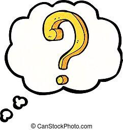 考え, 質問, 泡, 漫画, 印
