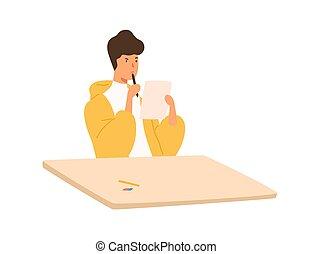考え, 隔離された, テーブル, シート, テスト, 哀愁を秘めた, バックグラウンド。, ティーネージャー, ペーパー, モデル, 人, ベクトル, マレ, 集中される, 平ら, 学生, 大学, 大学, ∥あるいは∥, illustration., ペン, 保有物, 検査しなさい, 白
