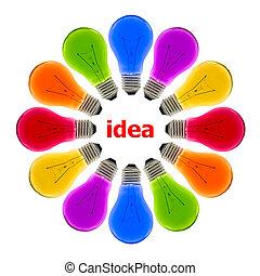 考え, 隔離された, 電球, ライト, カラフルである