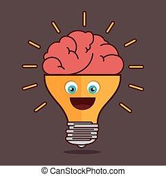 考え, 隔離された, 電球, 創造的, デザイン