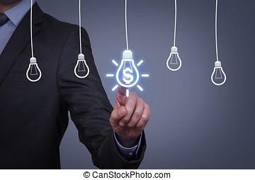 考え, 革新的, 解決, 金融, 概念