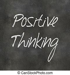 考え, 黒板, ポジティブ